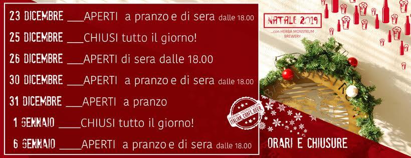 APERTURE Natale 2019. Herba Monstrum Brewery via Ettore Monti, 29, 23851 in zona Ponte Azzone Visconti Lecco.
