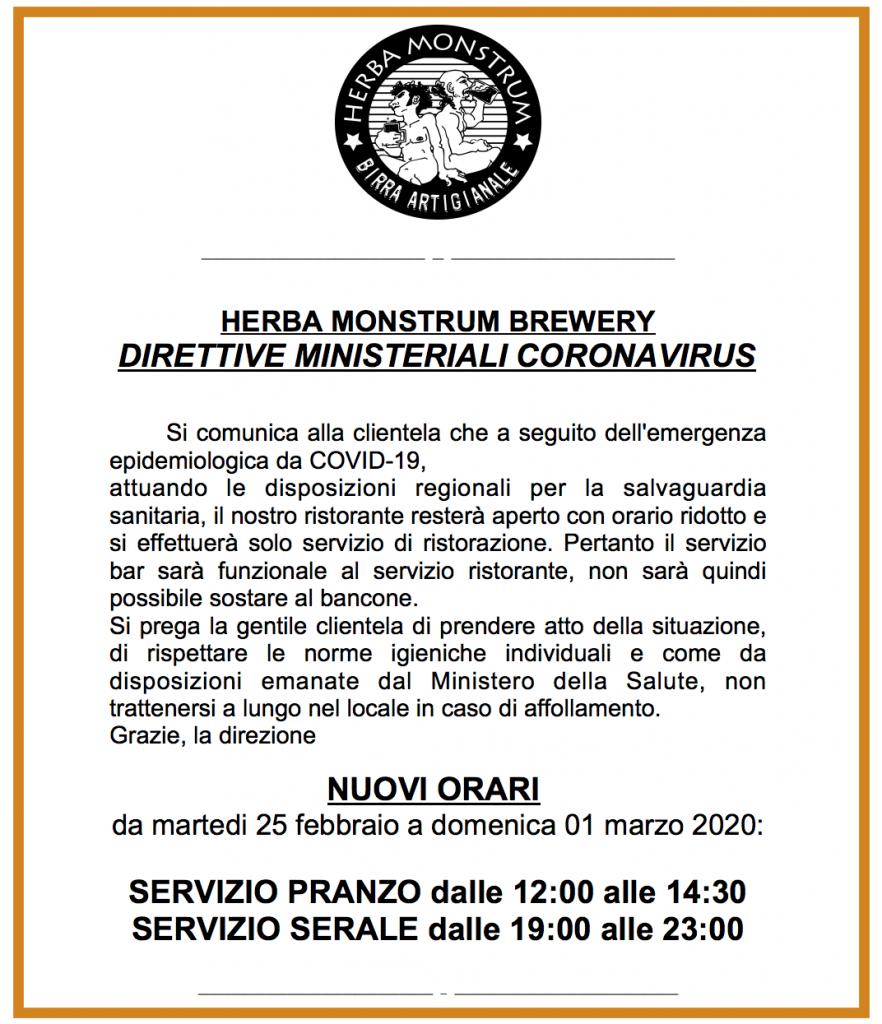 NUOVI ORARI a seguito dell'emergenza epidemiologica da COVID-19  Herba Monstrum Brewery via Ettore Monti, 29, 23851 in zona Ponte Azzone Visconti Lecco.