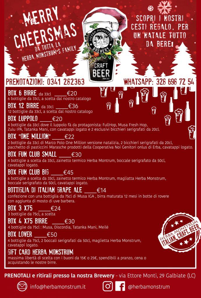 Regali di Natale 2020 elenco cesti e prenotazioni Herba Monstrum Brewery via Ettore Monti, 29, 23851 in zona Ponte Azzone Visconti Lecco. Birre artigianali Lecco.