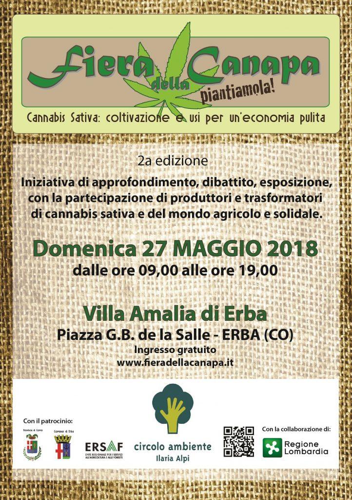 Fiera della Canapa 2018, Villa Amalia, Erba CO. Domenica 27 maggio, Herba Monstrum, panini, piatti vegetariani, birre artigianali alla spina.
