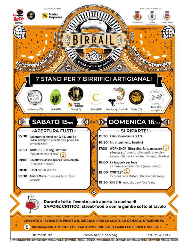 Programma completo e orari. Birrail - Birra fatta ad arte 2018 Arci La Lo Co Osnago 15 16 settembre