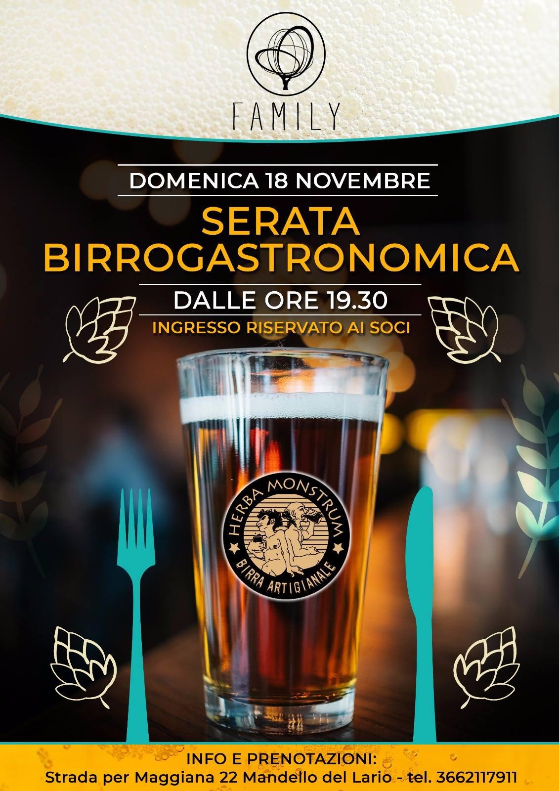 Serata birrogastronomica a Mandello del Lario, con l'Associazione Family. Herba Monstrum Brewery via Ettore Monti, 29, 23851 in zona Ponte Azzone Visconti Lecco.
