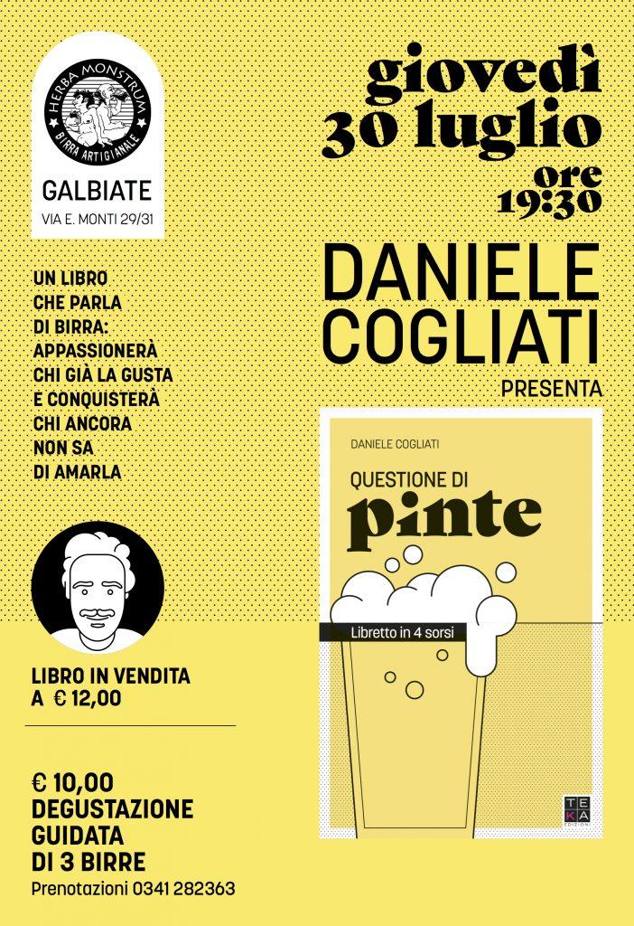 Questione di pinte, Daniele Cogliati. Presentazione giovedì 30 luglio 2020. Herba Monstrum Brewery via Ettore Monti, 29, 23851 in zona Ponte Azzone Visconti Lecco.